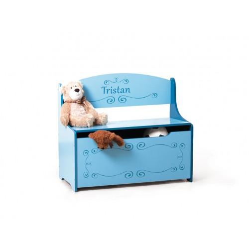 coffre jouets personnalis bleu. Black Bedroom Furniture Sets. Home Design Ideas